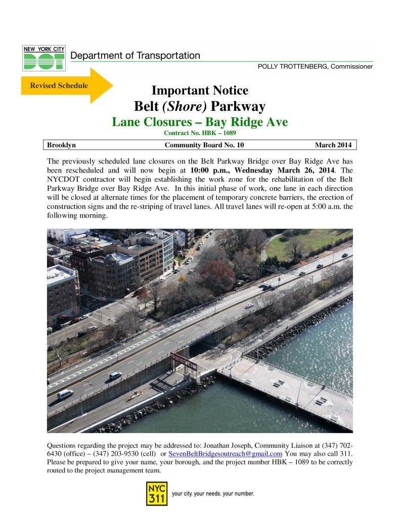 Bay Ridge Ave Bridge Night Lane Closure Staging_March 2014 REVISED SCHEDULE