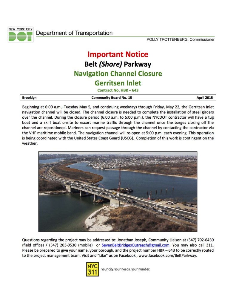 Belt 2G Navigation Channel Closure April to May 2015     Final