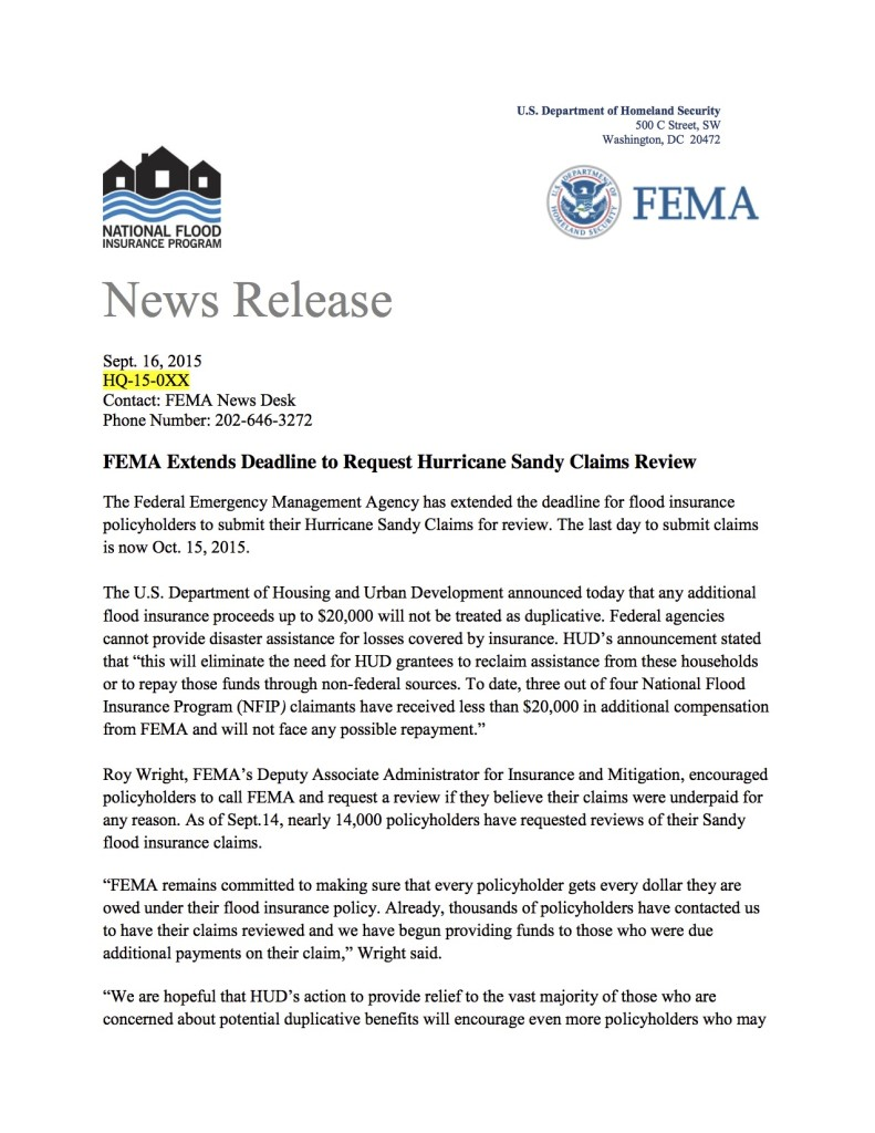 NR Deadline Extended to Enter Sandy Claims Review